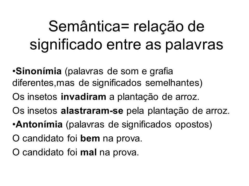 Semântica= relação de significado entre as palavras Sinonímia (palavras de som e grafia diferentes,mas de significados semelhantes) Os insetos invadir