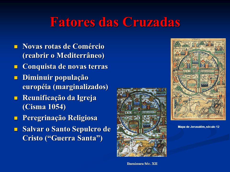 Fatores das Cruzadas Novas rotas de Comércio (reabrir o Mediterrâneo) Novas rotas de Comércio (reabrir o Mediterrâneo) Conquista de novas terras Conqu