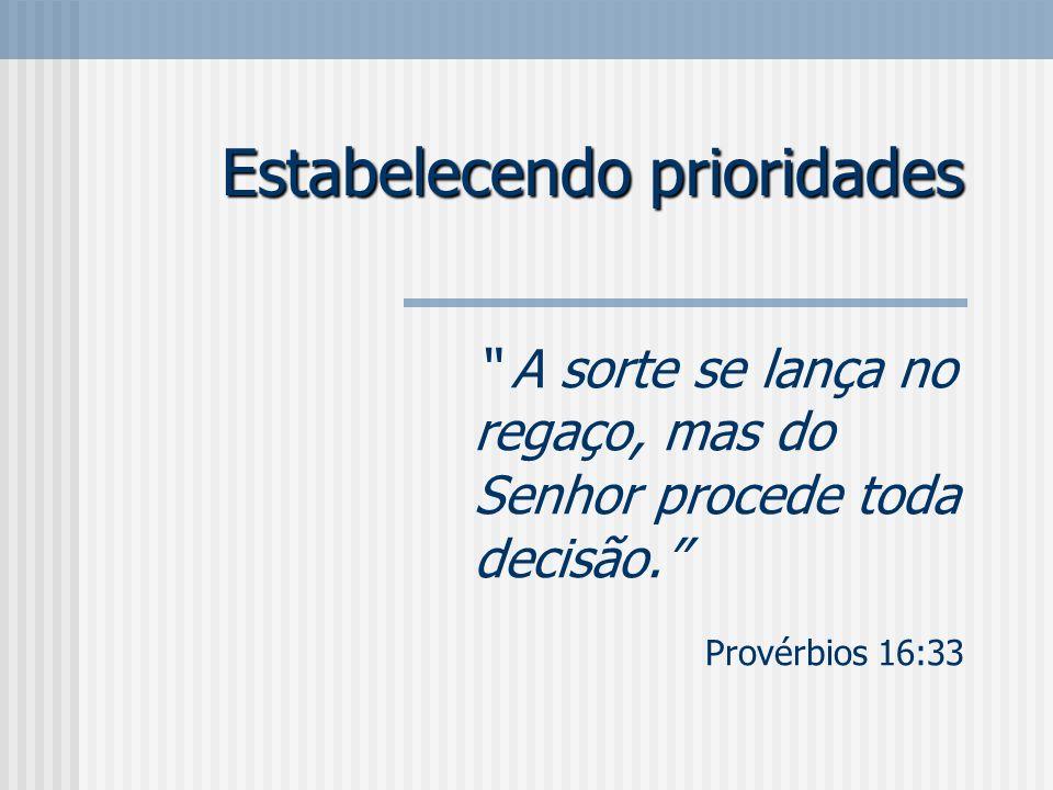 Estabelecendo prioridades A sorte se lança no regaço, mas do Senhor procede toda decisão. Provérbios 16:33