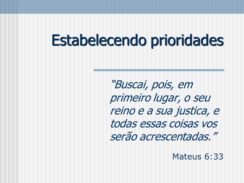 Estabelecendo prioridades Buscai, pois, em primeiro lugar, o seu reino e a sua justica, e todas essas coisas vos serão acrescentadas. Mateus 6:33