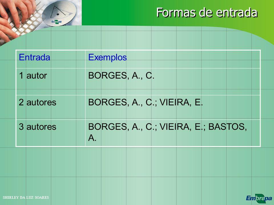 SHIRLEY DA LUZ SOARES Formas de entrada EntradaExemplos 1 autorBORGES, A., C. 2 autoresBORGES, A., C.; VIEIRA, E. 3 autoresBORGES, A., C.; VIEIRA, E.;