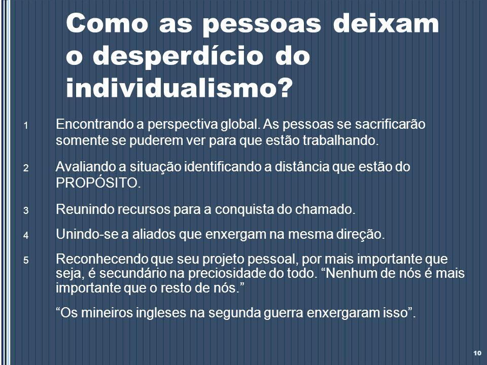 Como as pessoas deixam o desperdício do individualismo? 1 Encontrando a perspectiva global. As pessoas se sacrificarão somente se puderem ver para que