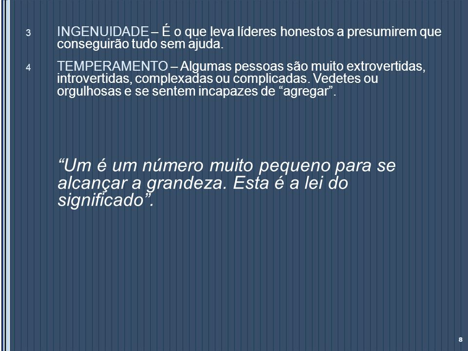 Níveis de Compromisso: 49 NIVELTIPO DE MEMBRO NÍVEL DE COMPROMISSO GENERALLÍDER DA EQUIPECOMPROMISSO TOTAL, DEDICAÇÃO À CAUSA TIPO ACONTEÇA O QUE ACONTECER PRIMEIRO TENENTE REALIZADOR DA EQUIPE PROFUNDAMENTE COMPROMETIDO COM A VISÃO DE CONQUISTA.