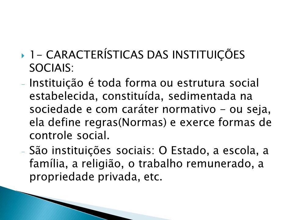 1- CARACTERÍSTICAS DAS INSTITUIÇÕES SOCIAIS: - Instituição é toda forma ou estrutura social estabelecida, constituída, sedimentada na sociedade e com