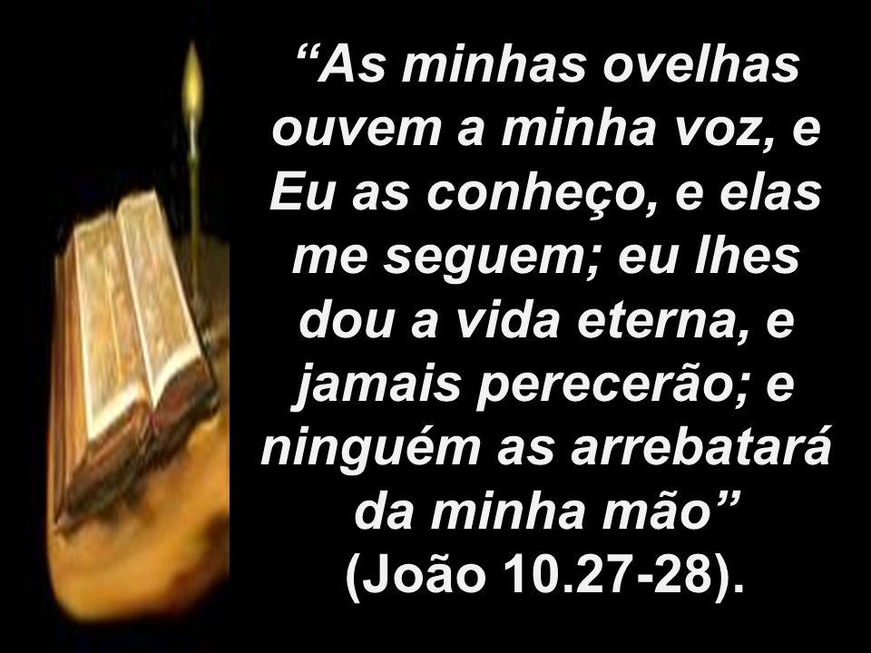 As minhas ovelhas ouvem a minha voz, e Eu as conheço, e elas me seguem; eu lhes dou a vida eterna, e jamais perecerão; e ninguém as arrebatará da minh