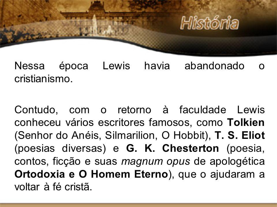 Nessa época Lewis havia abandonado o cristianismo. Contudo, com o retorno à faculdade Lewis conheceu vários escritores famosos, como Tolkien (Senhor d