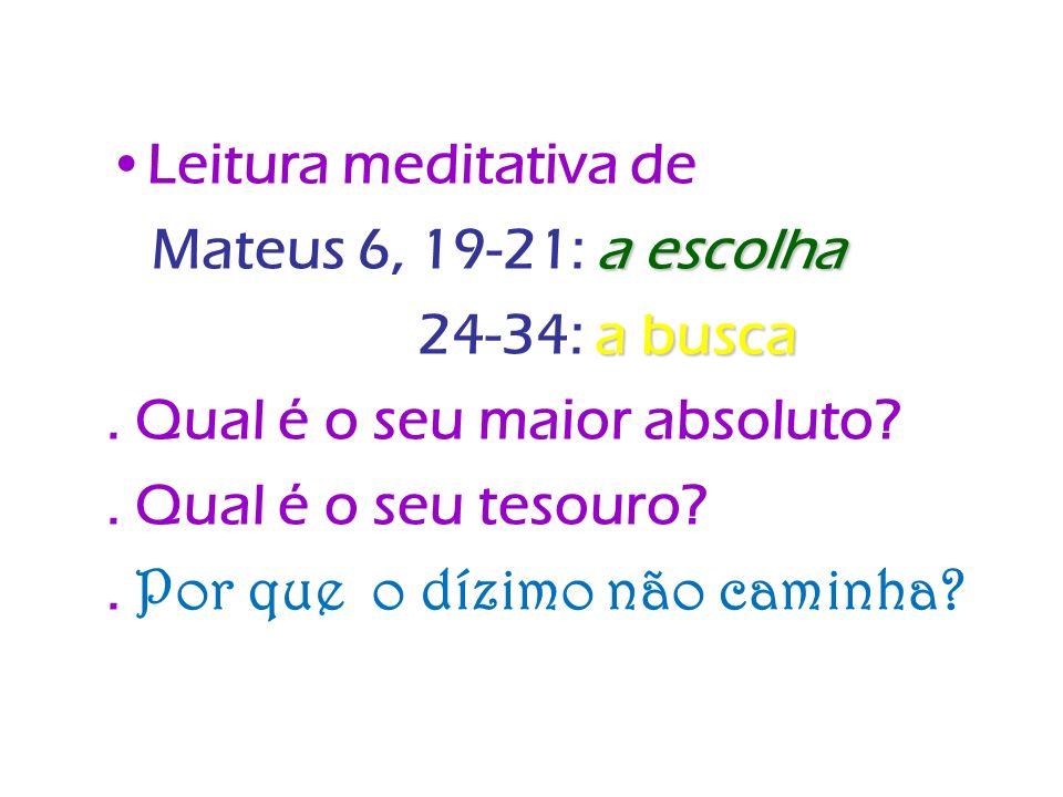 Leitura meditativa de a escolha Mateus 6, 19-21: a escolha a busca 24-34: a busca. Qual é o seu maior absoluto?. Qual é o seu tesouro?. Por que o dízi