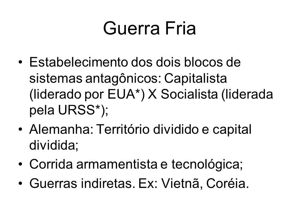 Guerra Fria Estabelecimento dos dois blocos de sistemas antagônicos: Capitalista (liderado por EUA*) X Socialista (liderada pela URSS*); Alemanha: Ter