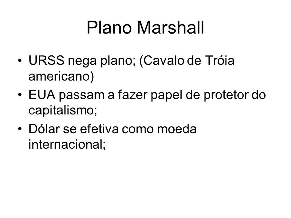 Plano Marshall URSS nega plano; (Cavalo de Tróia americano) EUA passam a fazer papel de protetor do capitalismo; Dólar se efetiva como moeda internaci