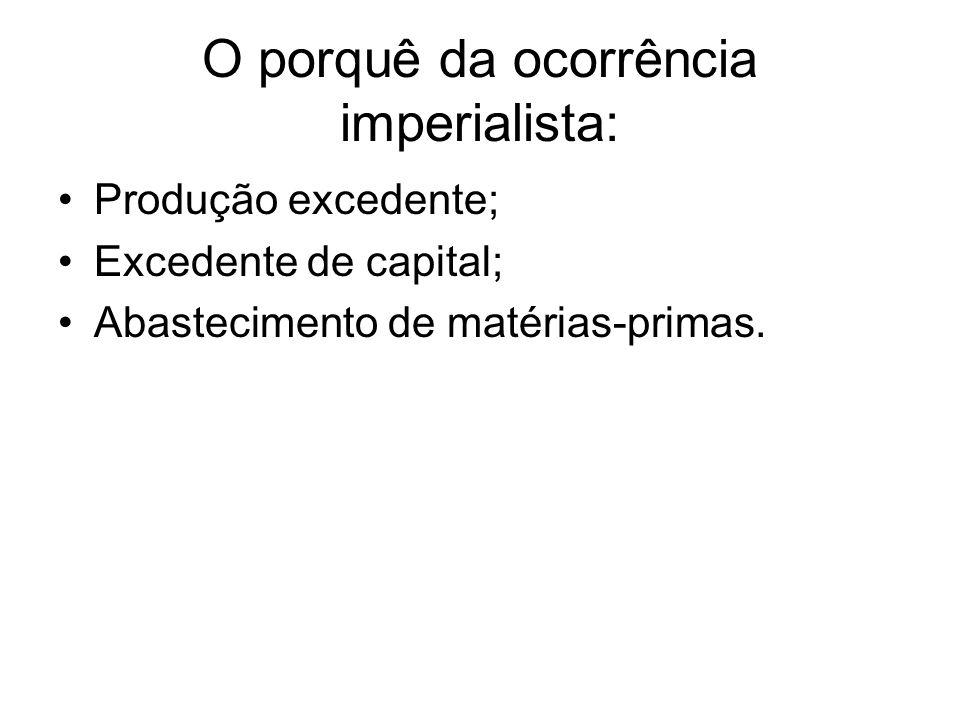 O porquê da ocorrência imperialista: Produção excedente; Excedente de capital; Abastecimento de matérias-primas.