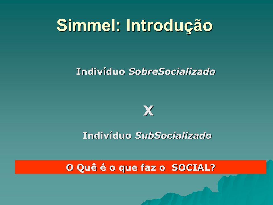 Simmel: Introdução Indivíduo SobreSocializado Indivíduo SubSocializado X O Quê é o que faz o SOCIAL?