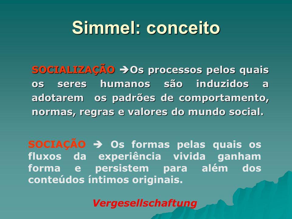 Simmel: conceito SOCIALIZAÇÃO Os processos pelos quais os seres humanos são induzidos a adotarem os padrões de comportamento, normas, regras e valores
