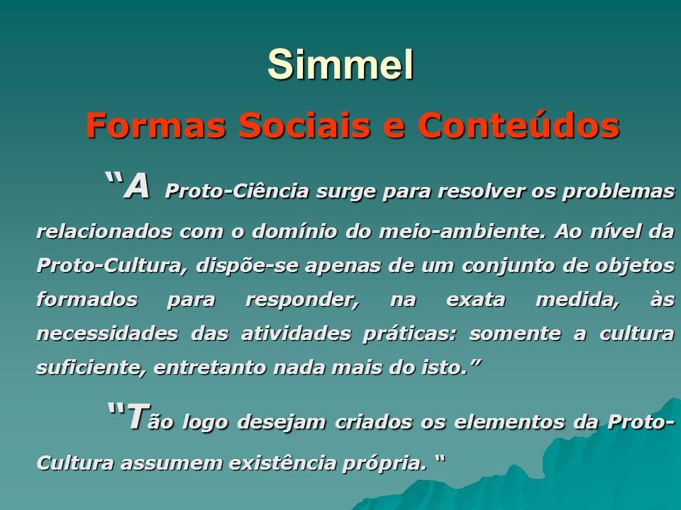 Simmel Formas Sociais e Conteúdos A Proto-Ciência surge para resolver os problemas relacionados com o domínio do meio-ambiente. Ao nível da Proto-Cult