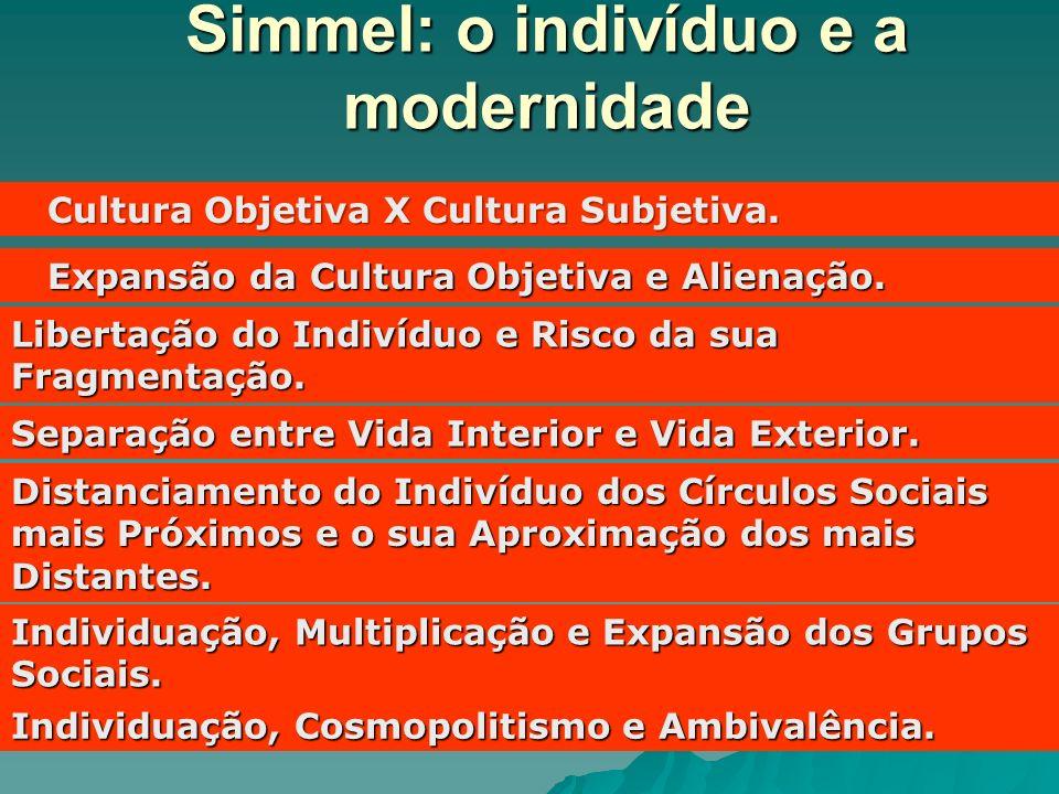 Simmel: o indivíduo e a modernidade Cultura Objetiva X Cultura Subjetiva. Cultura Objetiva X Cultura Subjetiva. Expansão da Cultura Objetiva e Alienaç