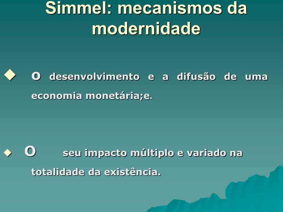 Simmel: mecanismos da modernidade o desenvolvimento e a difusão de uma economia monetária;e. o desenvolvimento e a difusão de uma economia monetária;e