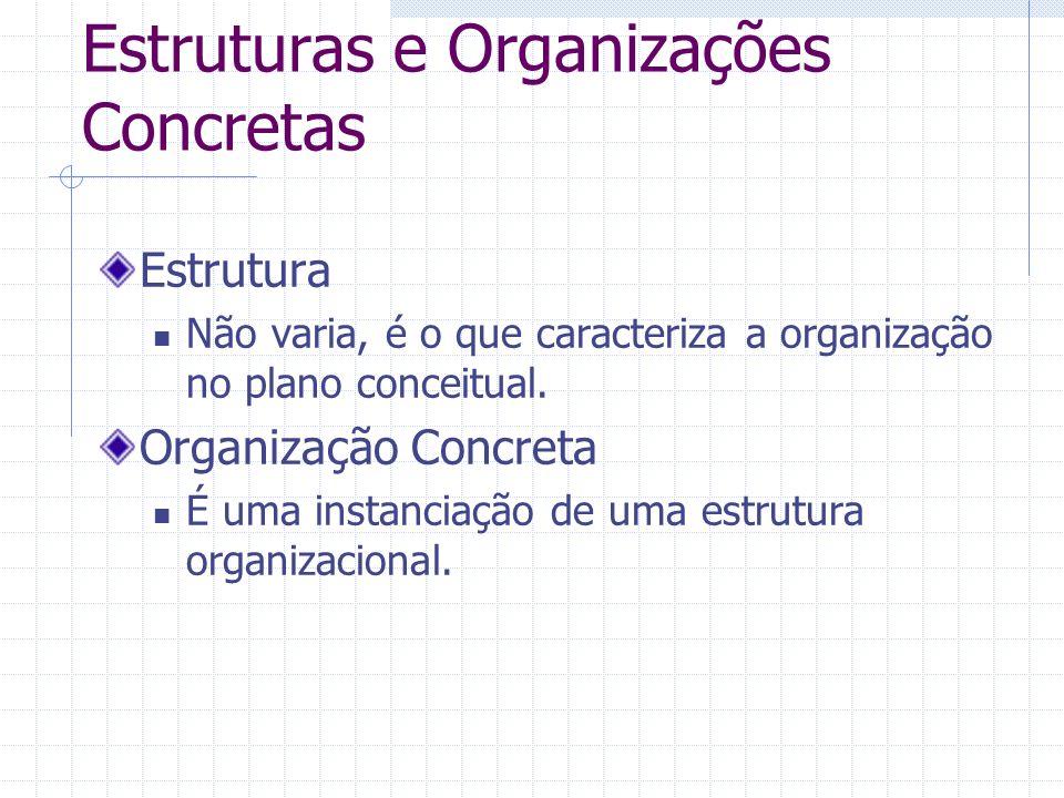 Estruturas e Organizações Concretas Estrutura Não varia, é o que caracteriza a organização no plano conceitual. Organização Concreta É uma instanciaçã