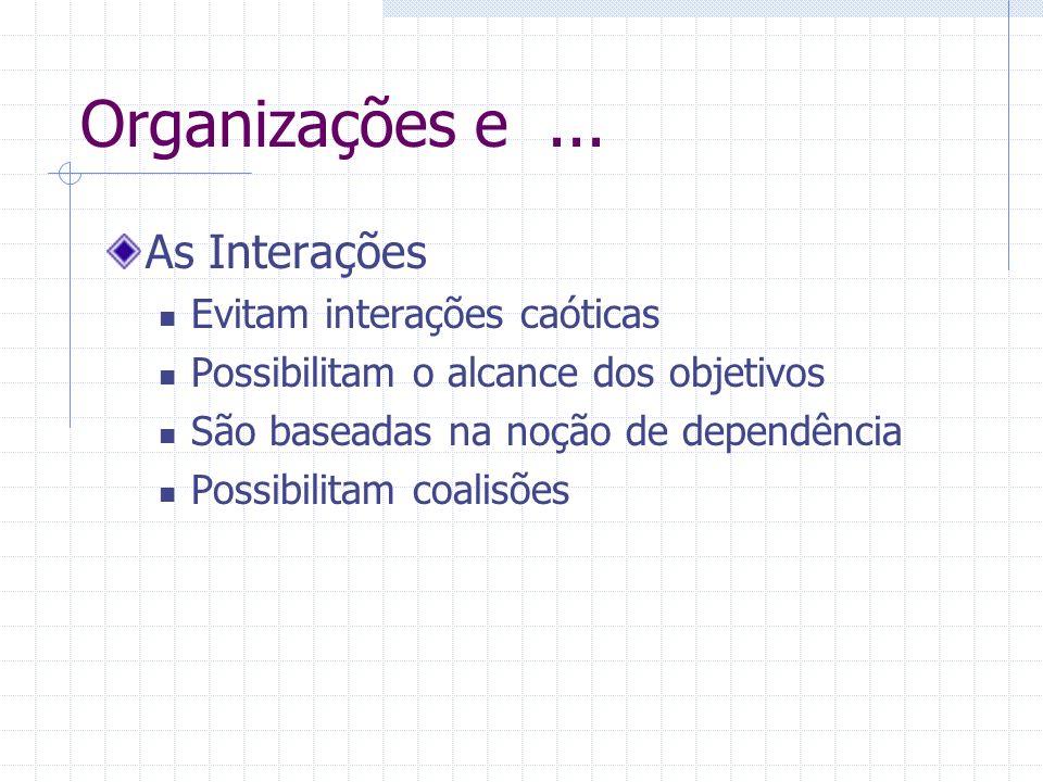 Organizações e... As Interações Evitam interações caóticas Possibilitam o alcance dos objetivos São baseadas na noção de dependência Possibilitam coal