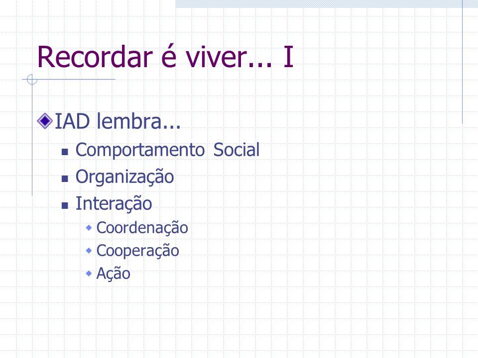 Recordar é viver... I IAD lembra... Comportamento Social Organização Interação Coordenação Cooperação Ação