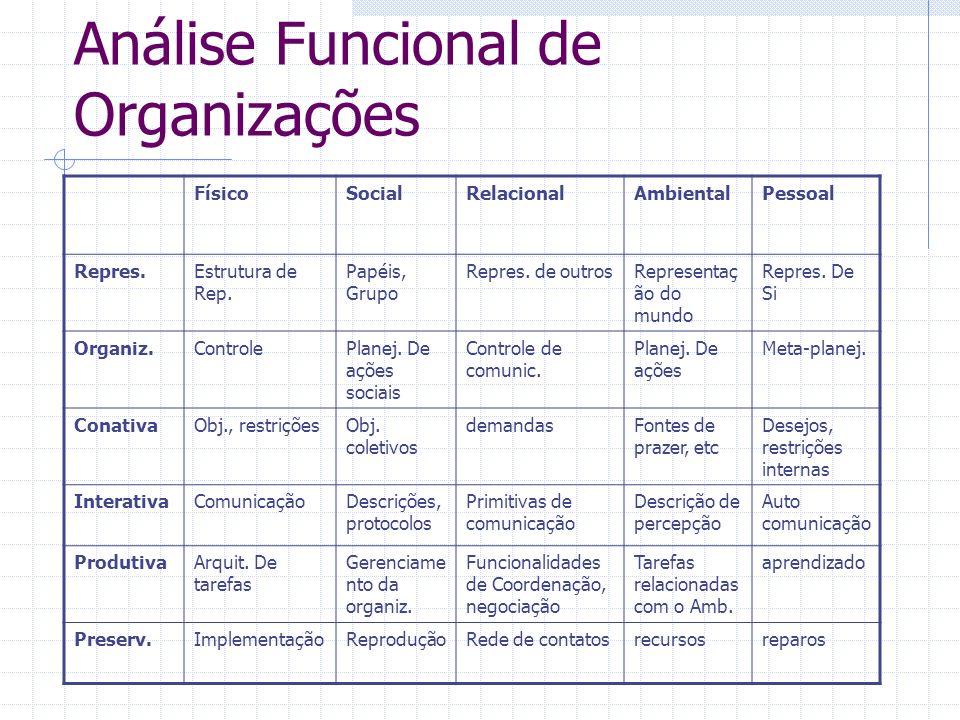 Análise Funcional de Organizações FísicoSocialRelacionalAmbientalPessoal Repres.Estrutura de Rep. Papéis, Grupo Repres. de outrosRepresentaç ão do mun