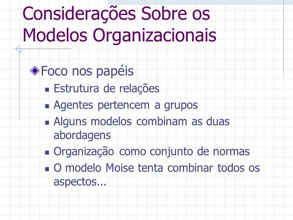 Considerações Sobre os Modelos Organizacionais Foco nos papéis Estrutura de relações Agentes pertencem a grupos Alguns modelos combinam as duas aborda