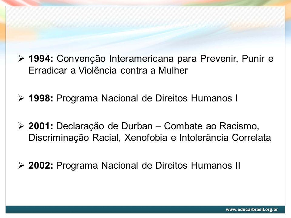 1994: Convenção Interamericana para Prevenir, Punir e Erradicar a Violência contra a Mulher 1998: Programa Nacional de Direitos Humanos I 2001: Declar