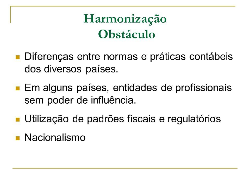 Harmonização Obstáculo Diferenças entre normas e práticas contábeis dos diversos países. Em alguns países, entidades de profissionais sem poder de inf