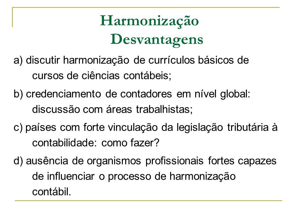 a) discutir harmonização de currículos básicos de cursos de ciências contábeis; b) credenciamento de contadores em nível global: discussão com áreas t