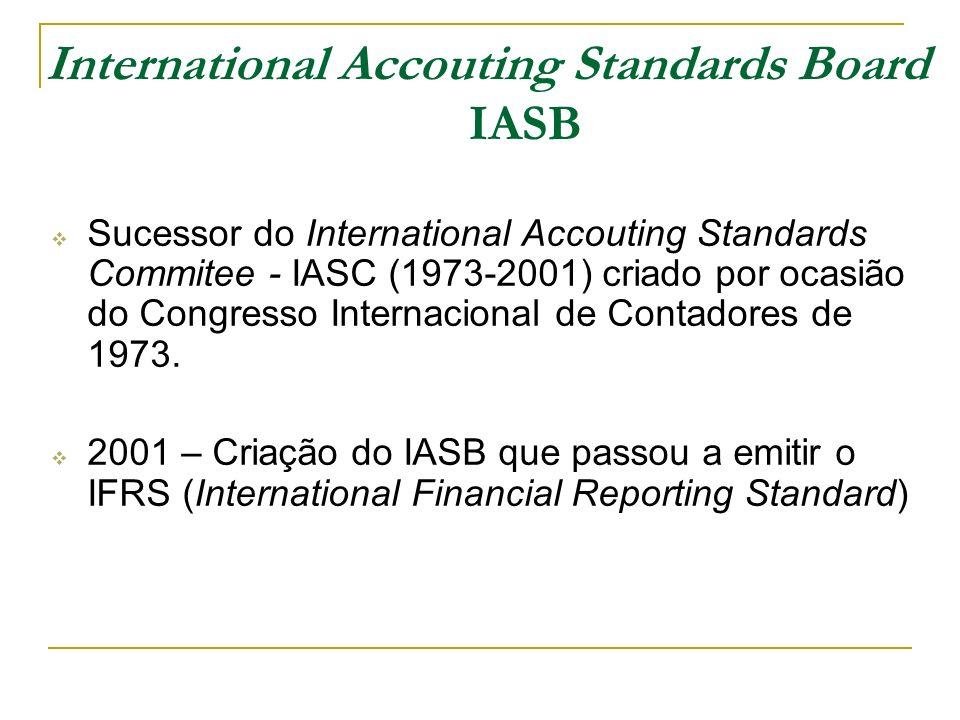 International Accouting Standards Board IASB Sucessor do International Accouting Standards Commitee - IASC (1973-2001) criado por ocasião do Congresso