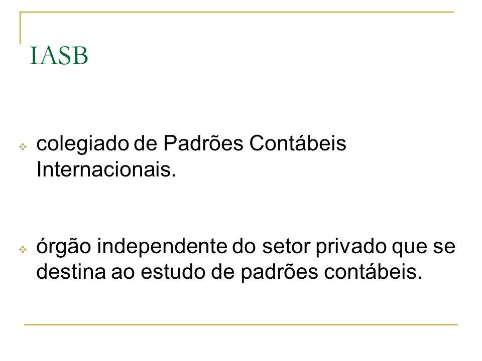colegiado de Padrões Contábeis Internacionais. órgão independente do setor privado que se destina ao estudo de padrões contábeis. IASB