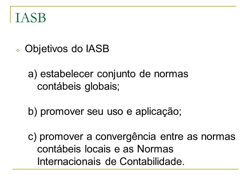 Objetivos do IASB a) estabelecer conjunto de normas contábeis globais; b) promover seu uso e aplicação; c) promover a convergência entre as normas con