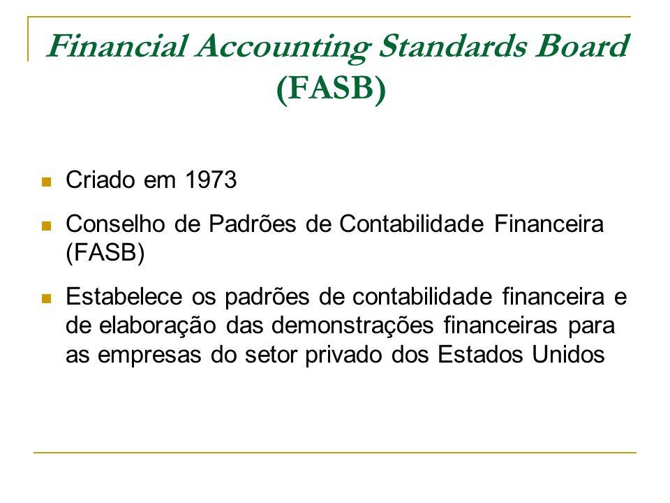 Financial Accounting Standards Board (FASB) Criado em 1973 Conselho de Padrões de Contabilidade Financeira (FASB) Estabelece os padrões de contabilida