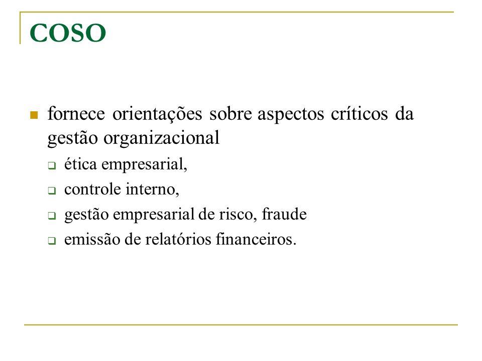 COSO fornece orientações sobre aspectos críticos da gestão organizacional ética empresarial, controle interno, gestão empresarial de risco, fraude emi