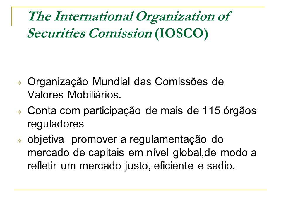 The International Organization of Securities Comission (IOSCO) Organização Mundial das Comissões de Valores Mobiliários. Conta com participação de mai