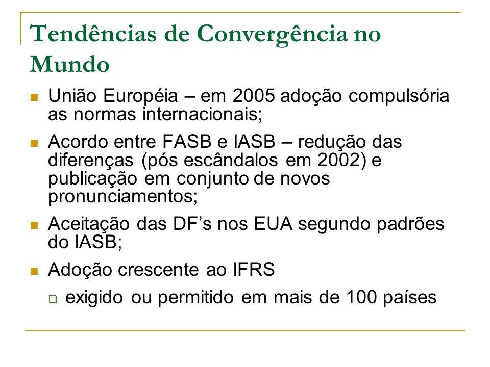 Tendências de Convergência no Mundo União Européia – em 2005 adoção compulsória as normas internacionais; Acordo entre FASB e IASB – redução das difer