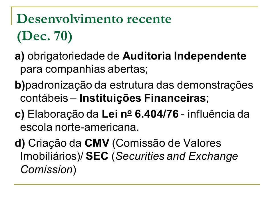 a) obrigatoriedade de Auditoria Independente para companhias abertas; b)padronização da estrutura das demonstrações contábeis – Instituições Financeir