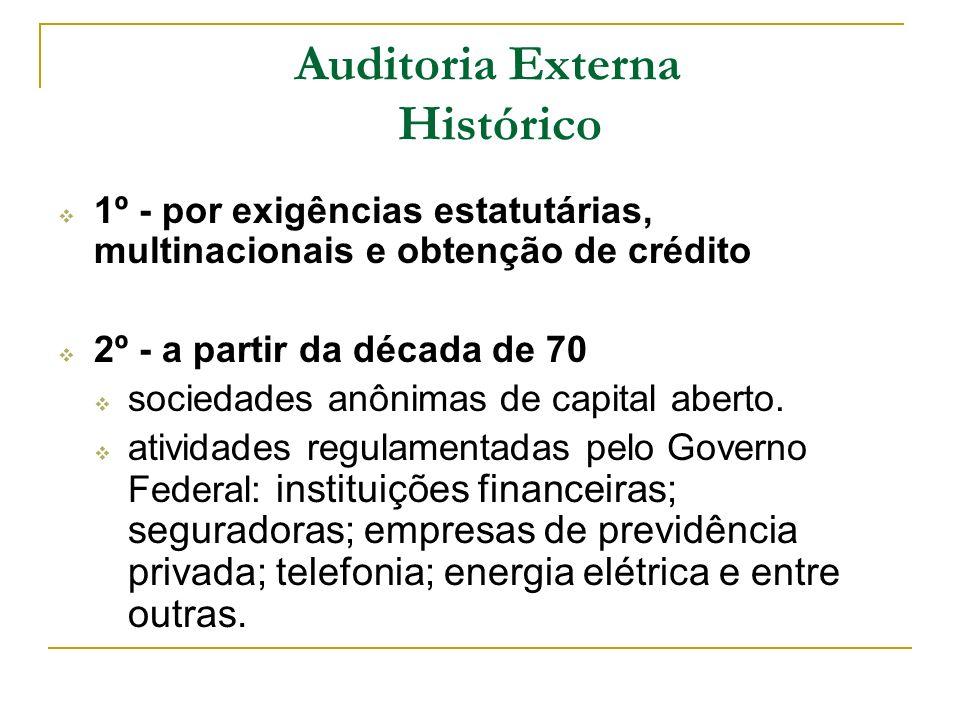 Auditoria Externa Histórico 1º - por exigências estatutárias, multinacionais e obtenção de crédito 2º - a partir da década de 70 sociedades anônimas d