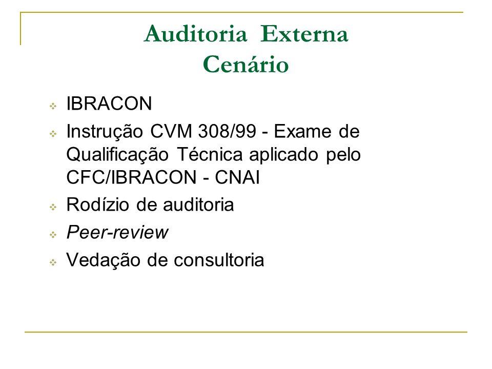 IBRACON Instrução CVM 308/99 - Exame de Qualificação Técnica aplicado pelo CFC/IBRACON - CNAI Rodízio de auditoria Peer-review Vedação de consultoria