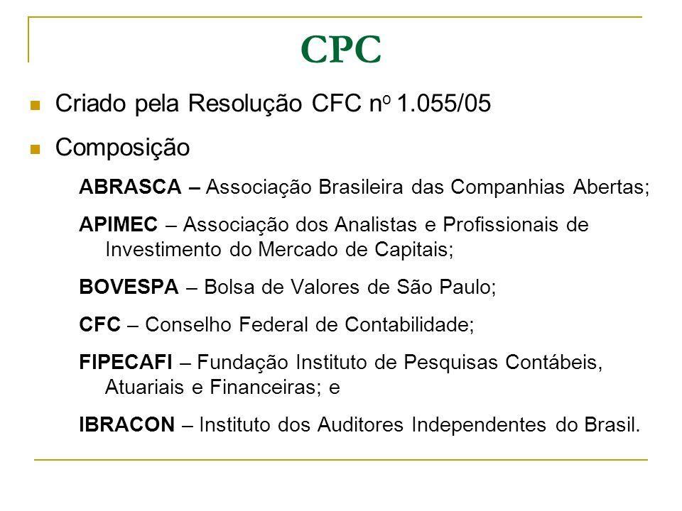 CPC Criado pela Resolução CFC n o 1.055/05 Composição ABRASCA – Associação Brasileira das Companhias Abertas; APIMEC – Associação dos Analistas e Prof