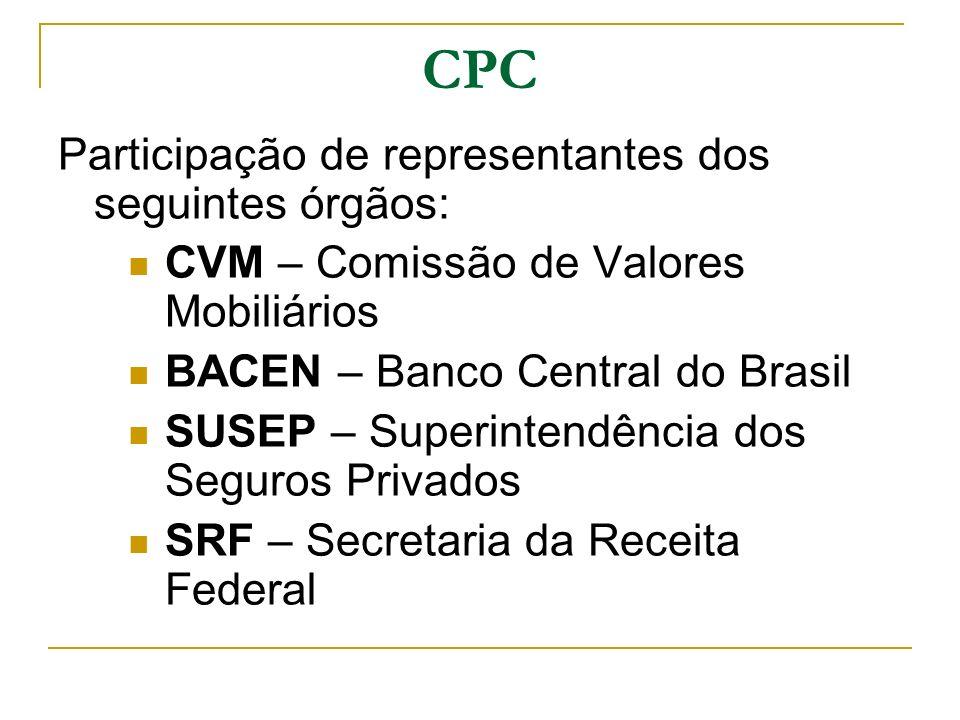 CPC Participação de representantes dos seguintes órgãos: CVM – Comissão de Valores Mobiliários BACEN – Banco Central do Brasil SUSEP – Superintendênci