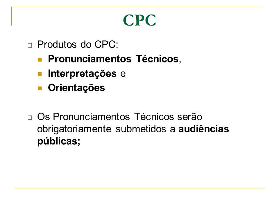 CPC Produtos do CPC: Pronunciamentos Técnicos, Interpretações e Orientações Os Pronunciamentos Técnicos serão obrigatoriamente submetidos a audiências