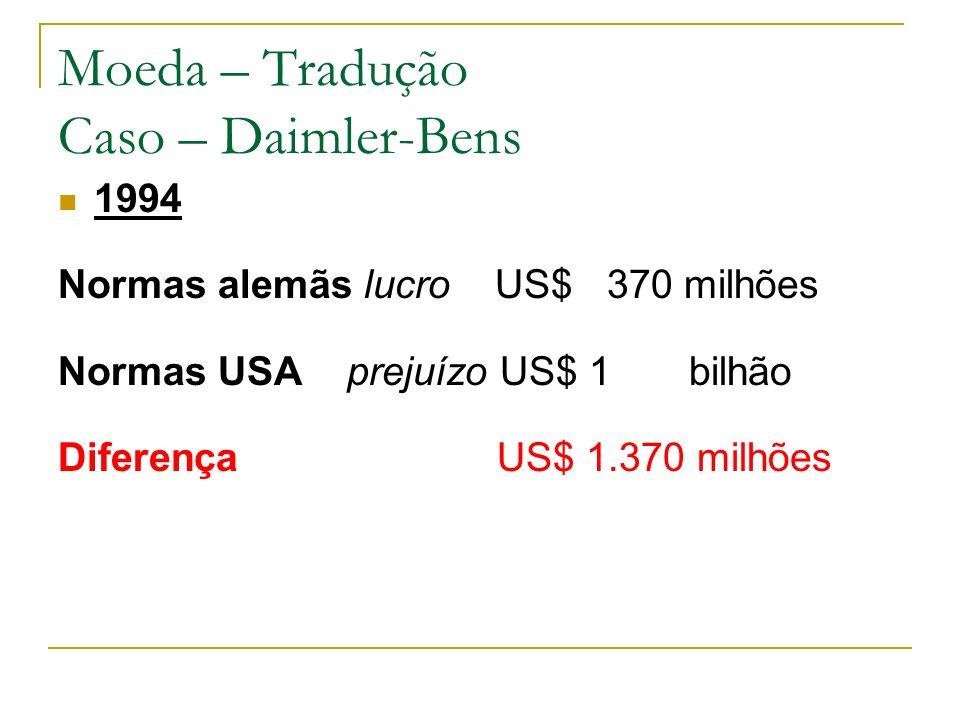 Moeda – Tradução Caso – Daimler-Bens 1994 Normas alemãs lucro US$ 370 milhões Normas USA prejuízo US$ 1 bilhão Diferença US$ 1.370 milhões