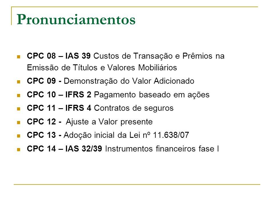 Pronunciamentos CPC 08 – IAS 39 Custos de Transação e Prêmios na Emissão de Títulos e Valores Mobiliários CPC 09 - Demonstração do Valor Adicionado CP