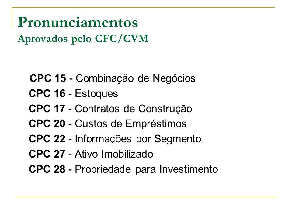 Pronunciamentos Aprovados pelo CFC/CVM CPC 15 - Combinação de Negócios CPC 16 - Estoques CPC 17 - Contratos de Construção CPC 20 - Custos de Empréstim