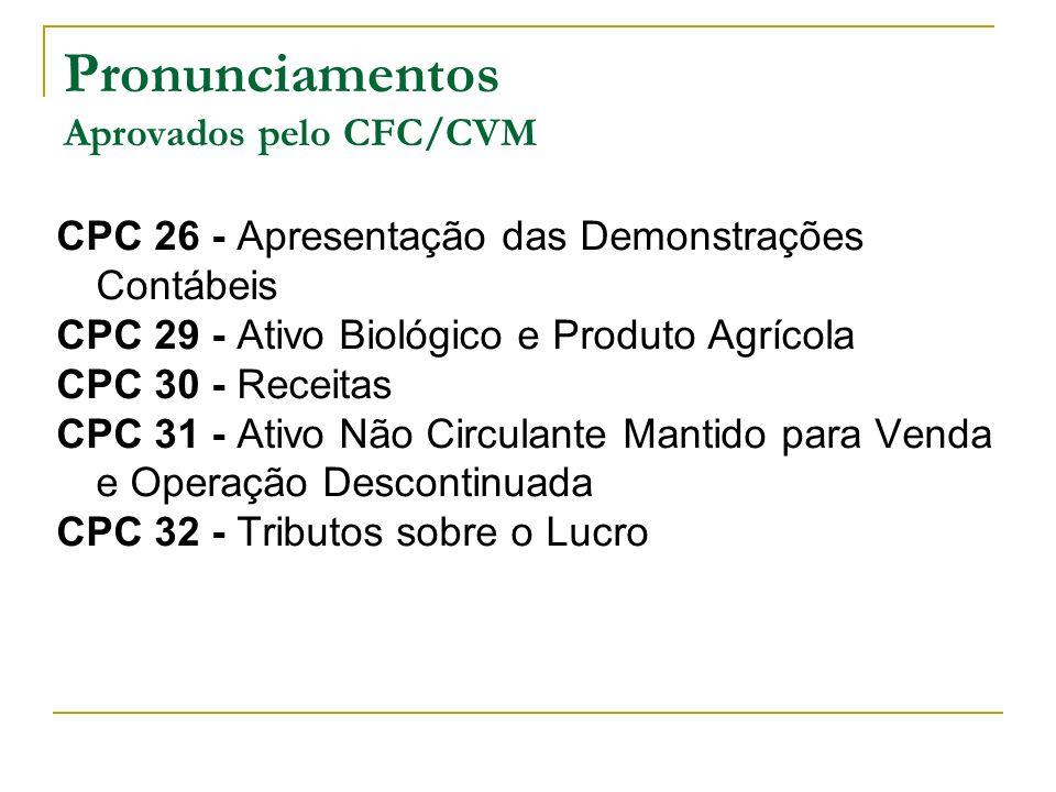 Pronunciamentos Aprovados pelo CFC/CVM CPC 26 - Apresentação das Demonstrações Contábeis CPC 29 - Ativo Biológico e Produto Agrícola CPC 30 - Receitas