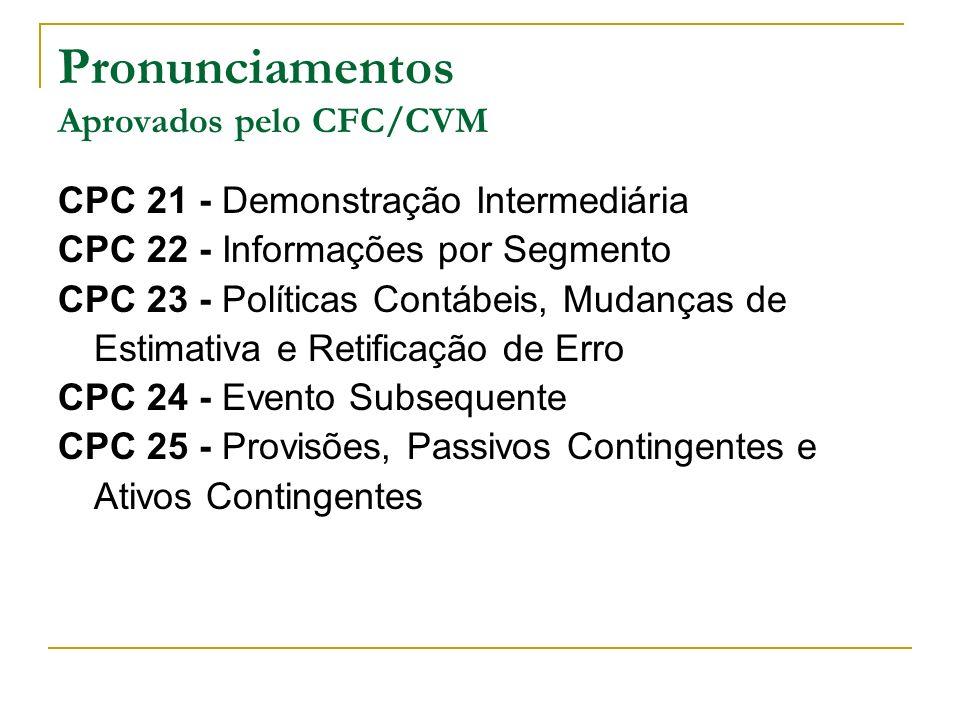 Pronunciamentos Aprovados pelo CFC/CVM CPC 21 - Demonstração Intermediária CPC 22 - Informações por Segmento CPC 23 - Políticas Contábeis, Mudanças de