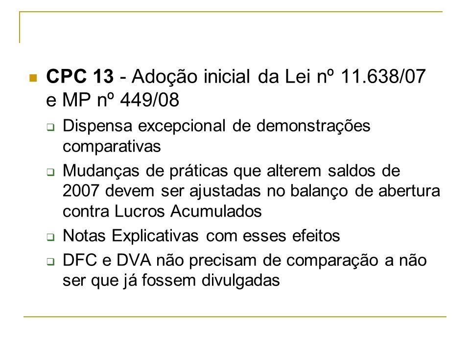 CPC 13 - Adoção inicial da Lei nº 11.638/07 e MP nº 449/08 Dispensa excepcional de demonstrações comparativas Mudanças de práticas que alterem saldos