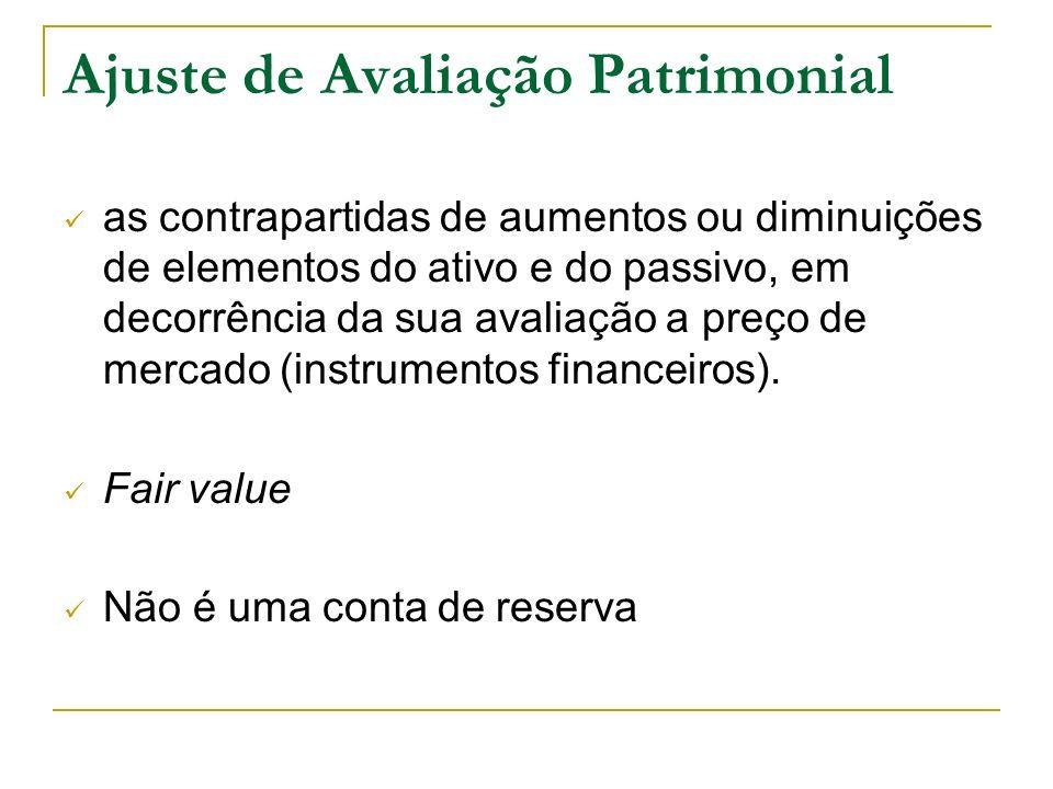 Ajuste de Avaliação Patrimonial as contrapartidas de aumentos ou diminuições de elementos do ativo e do passivo, em decorrência da sua avaliação a pre