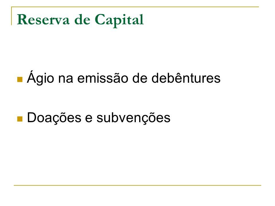 Reserva de Capital Ágio na emissão de debêntures Doações e subvenções