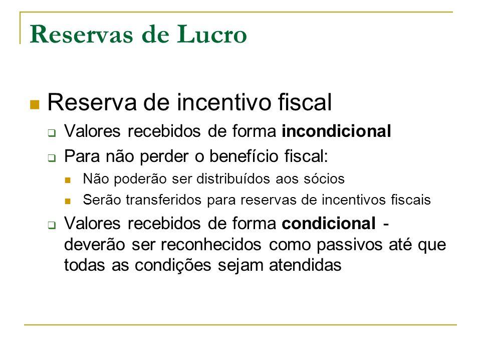 Reservas de Lucro Reserva de incentivo fiscal Valores recebidos de forma incondicional Para não perder o benefício fiscal: Não poderão ser distribuído
