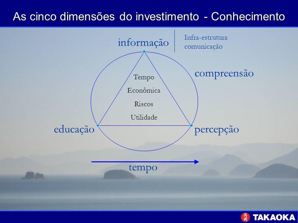 As cinco dimensões do investimento - Conhecimento tempo percepção educação informação compreensão Tempo Econômica Riscos Utilidade Infra-estrutura com
